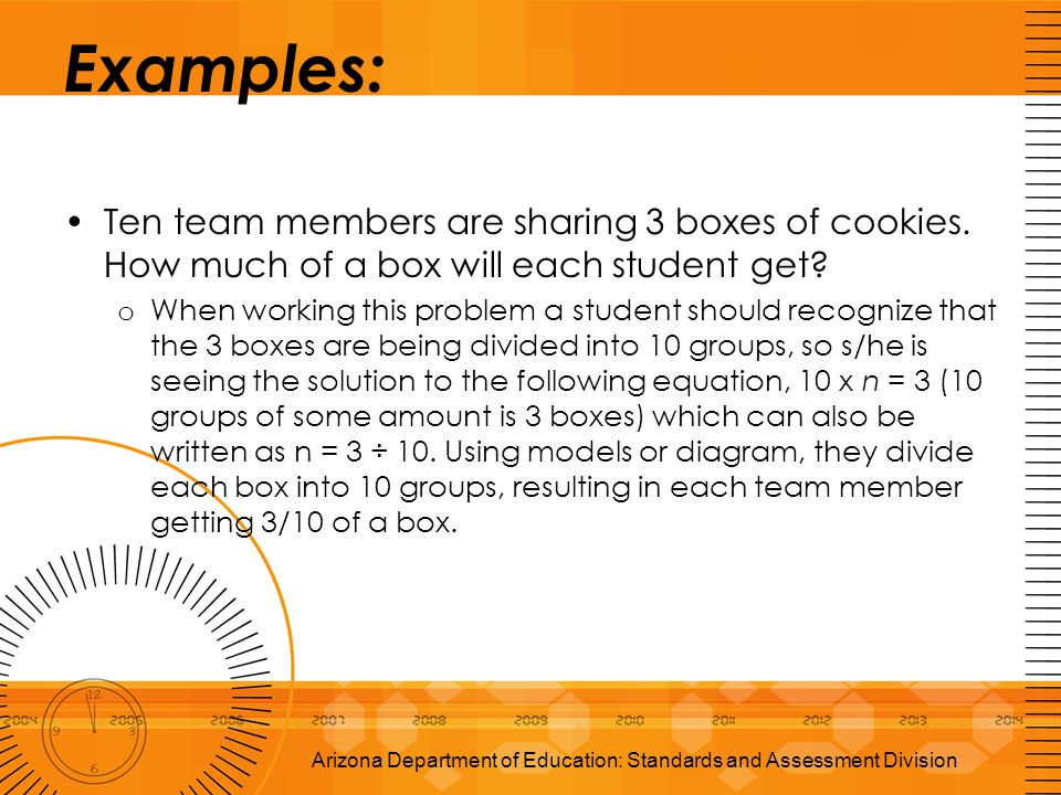 Examples: Ten team members are sharing 3 boxes of cookies. How much of a box will each student get? o When working this problem a student should recog