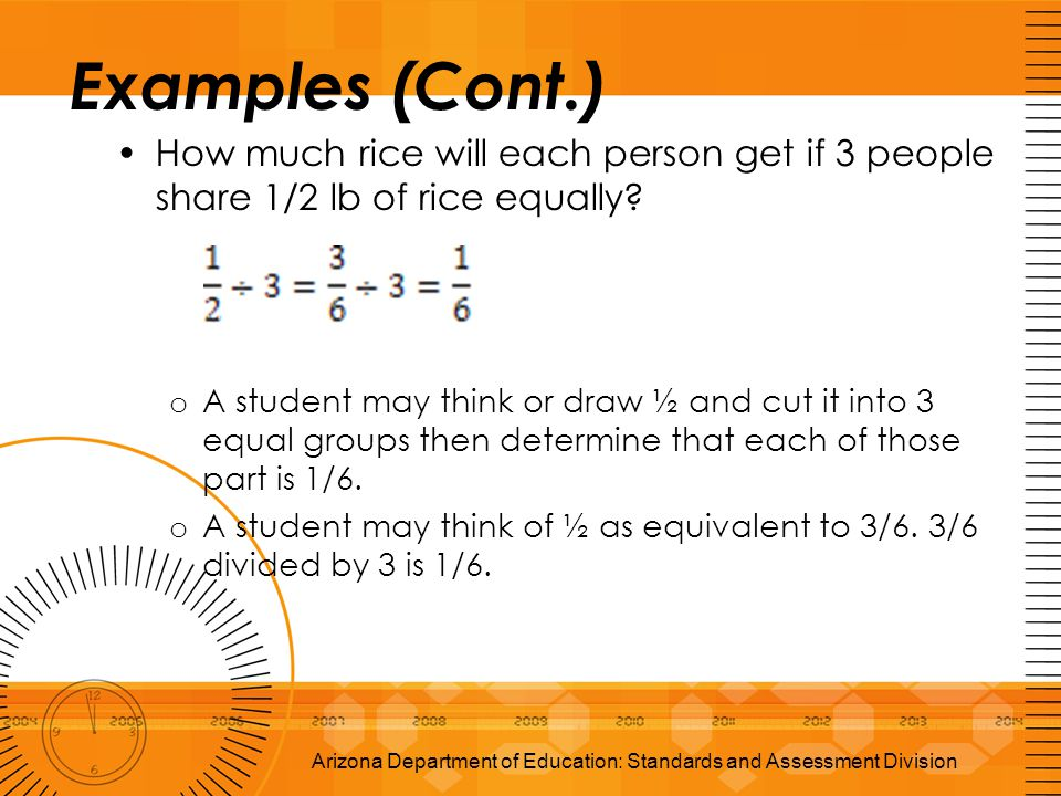Examples (Cont.) How much rice will each person get if 3 people share 1/2 lb of rice equally? o A student may think or draw ½ and cut it into 3 equal