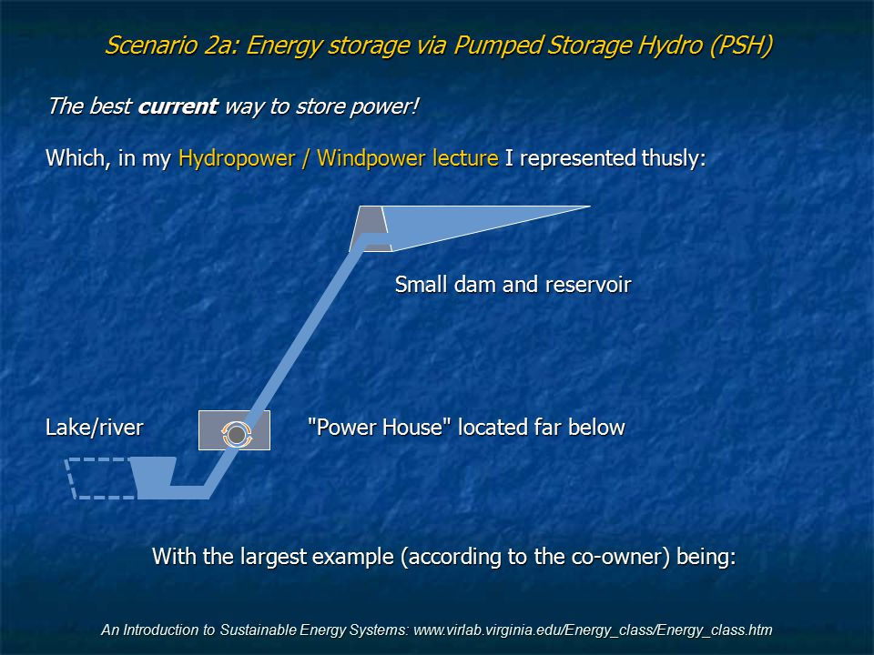 An Introduction to Sustainable Energy Systems: www.virlab.virginia.edu/Energy_class/Energy_class.htm Scenario 2a: Energy storage via Pumped Storage Hy