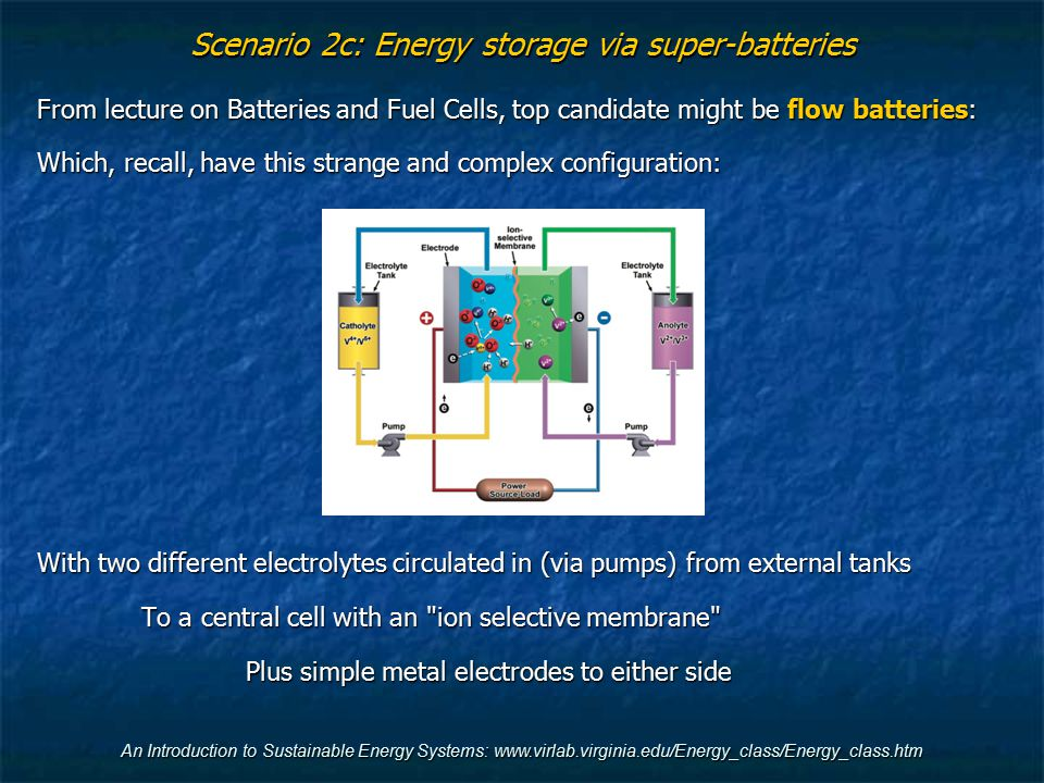 Scenario 2c: Energy storage via super-batteries From lecture on Batteries and Fuel Cells, top candidate might be flow batteries: Which, recall, have t
