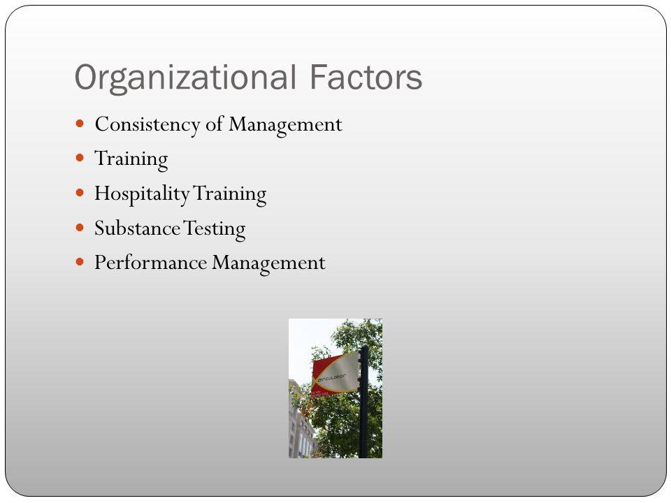 Organizational Factors Consistency of Management Training Hospitality Training Substance Testing Performance Management
