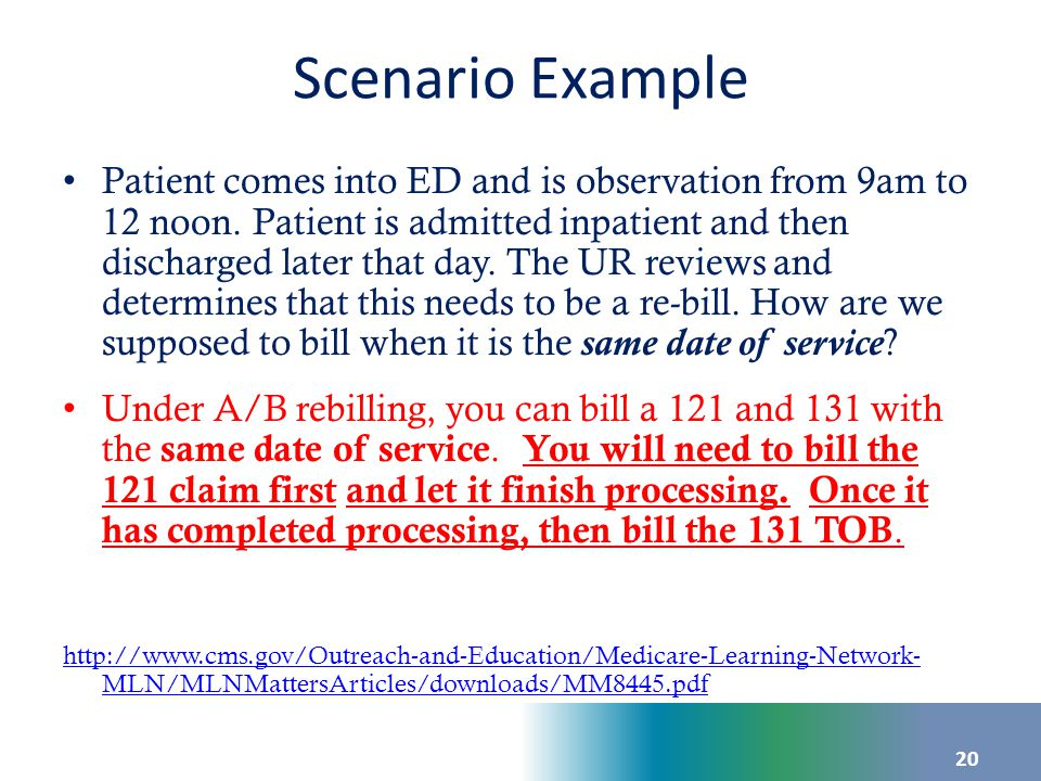Scenario Example Patient comes into ED and is observation from 9am to 12 noon. Patient is admitted inpatient and then discharged later that day. The U