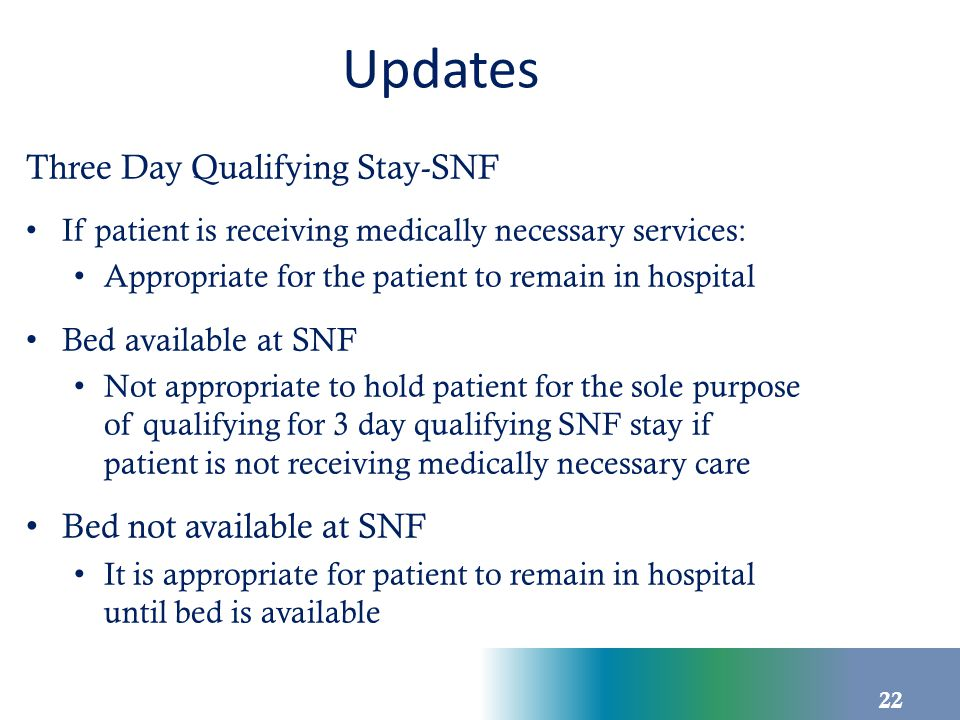 Updates Three Day Qualifying Stay-SNF If patient is receiving medically necessary services: Appropriate for the patient to remain in hospital Bed avai