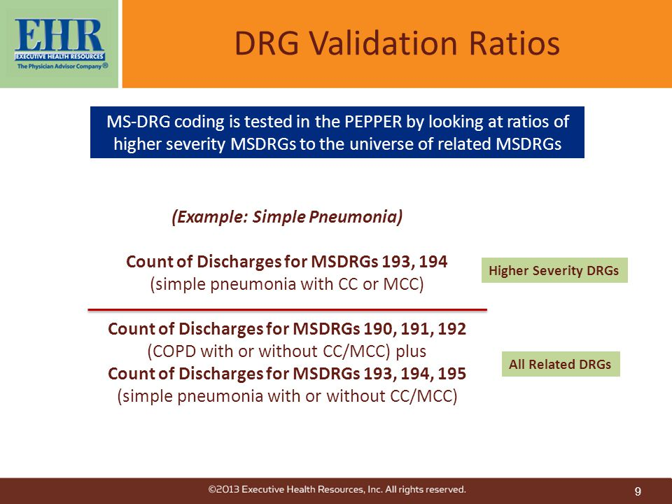 9 DRG Validation Ratios (Example: Simple Pneumonia) Count of Discharges for MSDRGs 193, 194 (simple pneumonia with CC or MCC) Count of Discharges for MSDRGs 190, 191, 192 (COPD with or without CC/MCC) plus Count of Discharges for MSDRGs 193, 194, 195 (simple pneumonia with or without CC/MCC) Higher Severity DRGs All Related DRGs MS-DRG coding is tested in the PEPPER by looking at ratios of higher severity MSDRGs to the universe of related MSDRGs