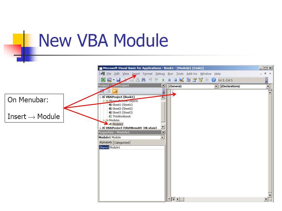 New VBA Module On Menubar: Insert  Module