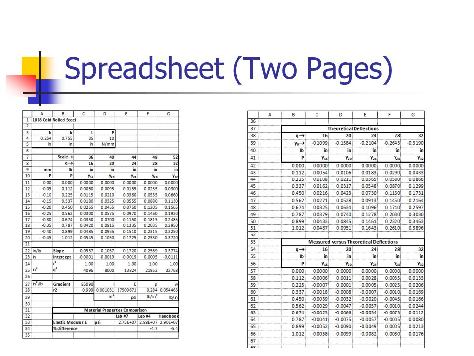 Spreadsheet (Two Pages)