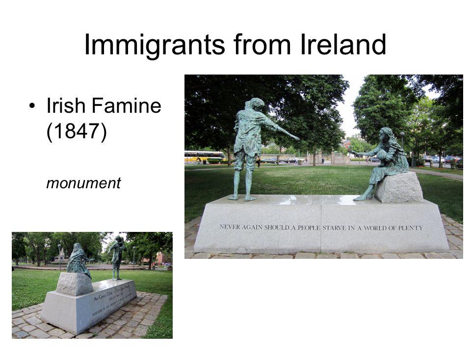 Immigrants from Ireland Irish Famine (1847) monument