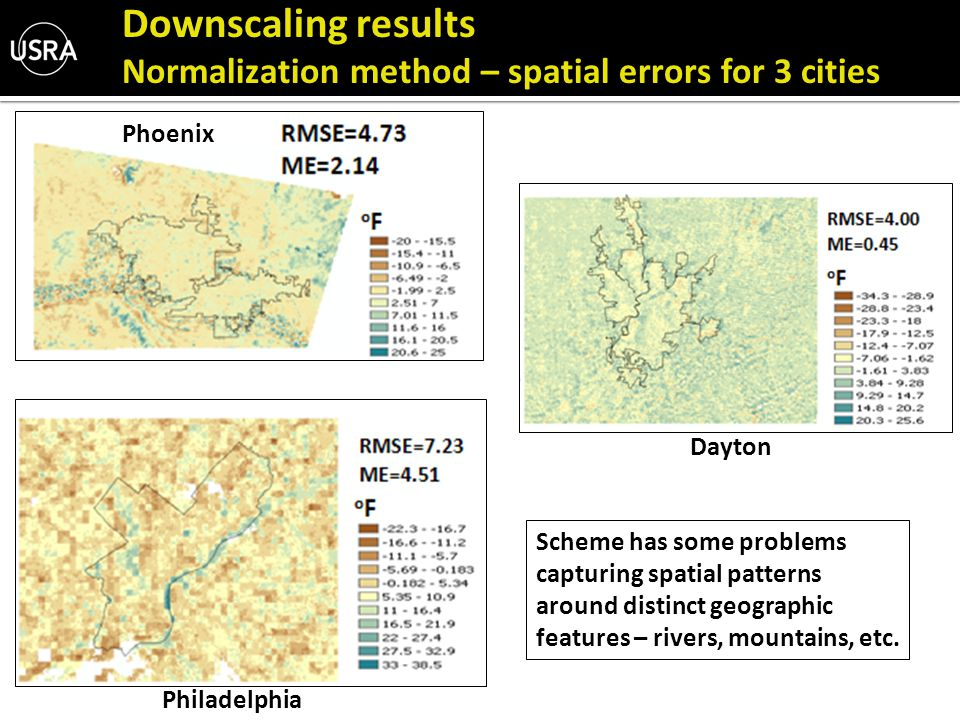 Downscaling results Normalization method – spatial errors for 3 cities Phoenix Philadelphia Dayton Scheme has some problems capturing spatial patterns around distinct geographic features – rivers, mountains, etc.