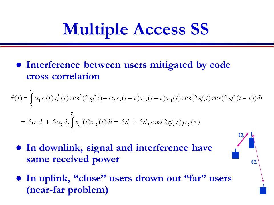 Multiple Access SS Interference between users mitigated by code cross correlation In downlink, signal and interference have same received power In uplink, close users drown out far users (near-far problem)  