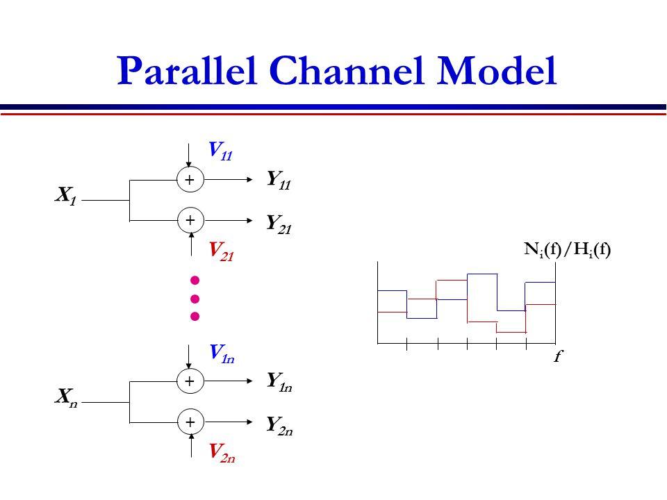 Parallel Channel Model + + X1X1 V 11 V 21 Y 11 Y 21 + + XnXn V 1n V 2n Y 1n Y 2n N i (f)/H i (f) f