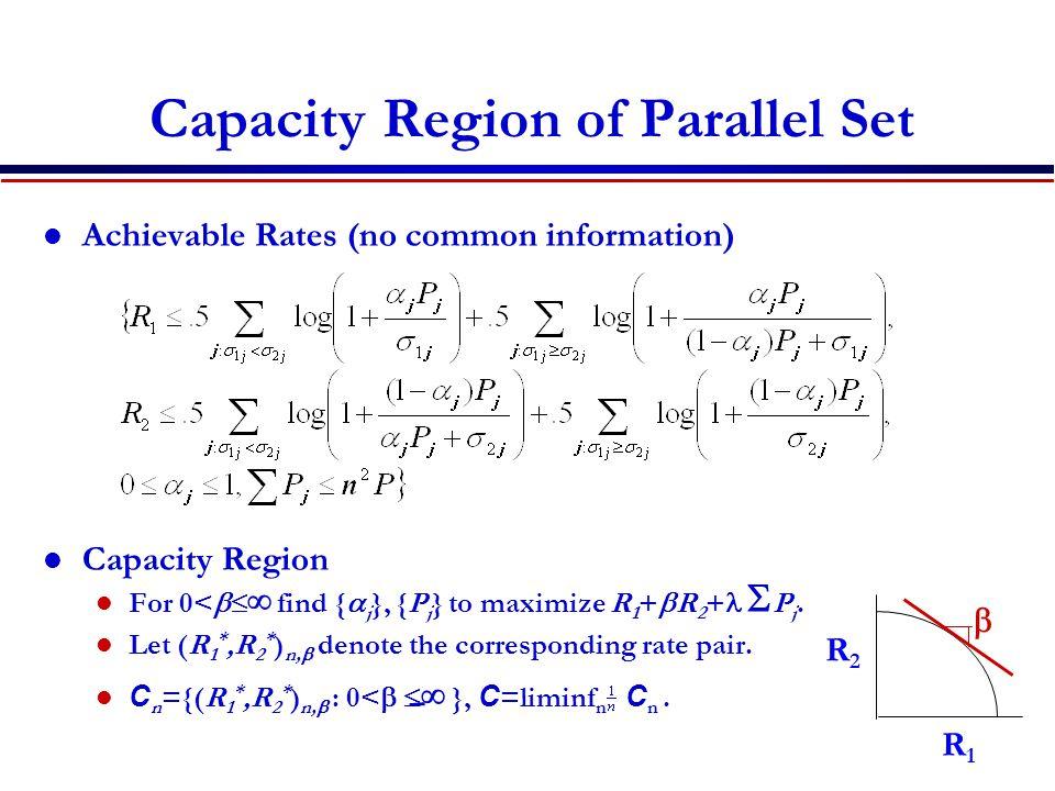 Capacity Region of Parallel Set Achievable Rates (no common information) Capacity Region For 0<   find {  j }, {P j } to maximize R 1 +  R 2 +  P j.