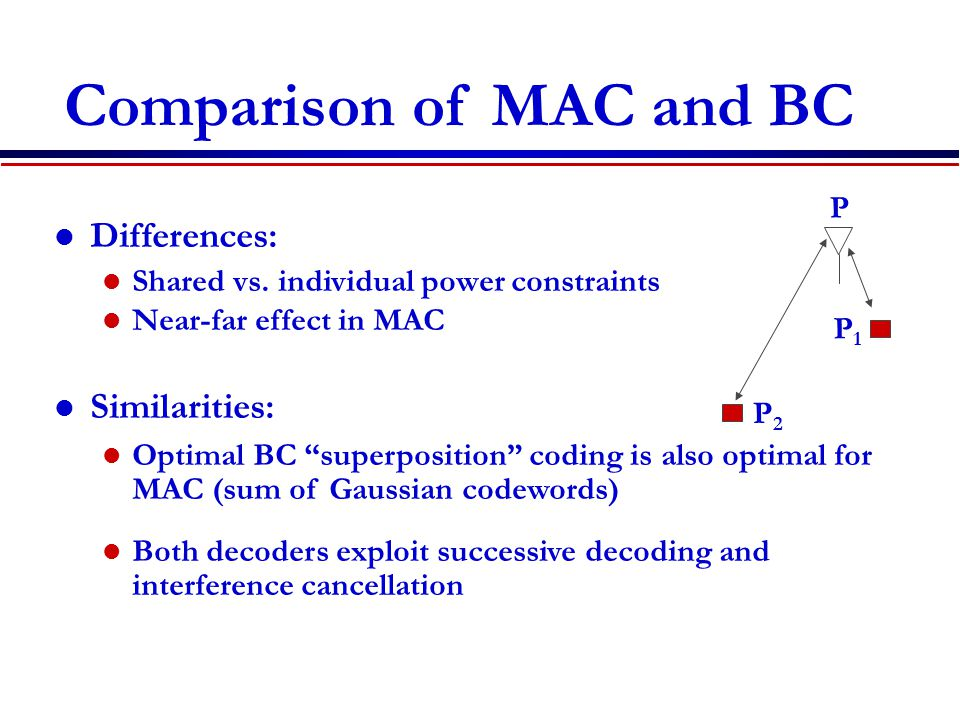 """Differences: Shared vs. individual power constraints Near-far effect in MAC Similarities: Optimal BC """"superposition"""" coding is also optimal for MAC (s"""
