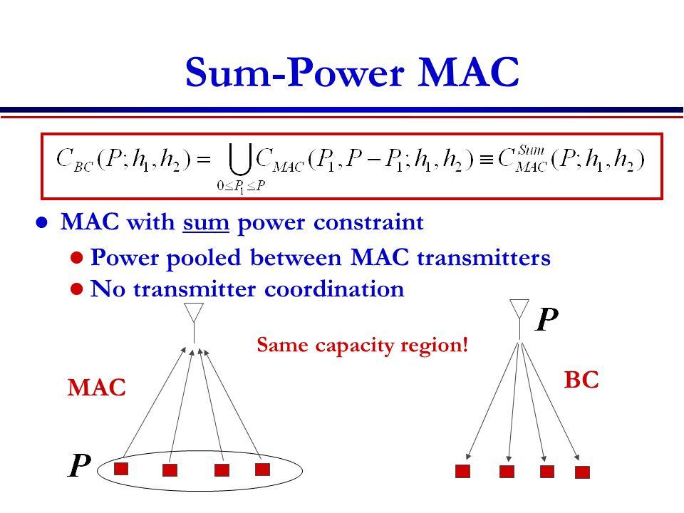 Sum-Power MAC MAC with sum power constraint Power pooled between MAC transmitters No transmitter coordination MAC BC Same capacity region!