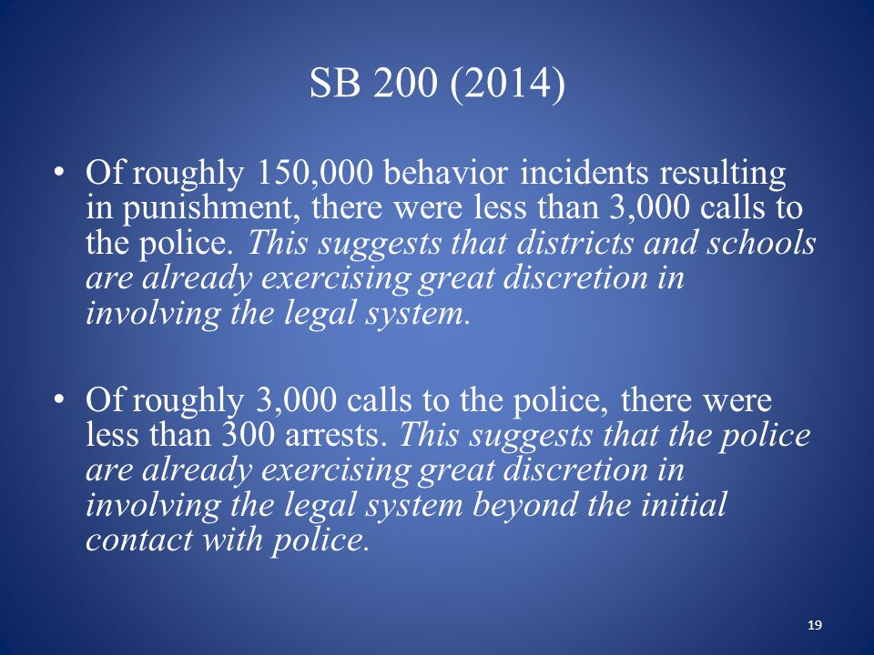 SB 200 (2014) Of roughly 150,000 behavior incidents resulting in punishment, there were less than 3,000 calls to the police. This suggests that distri