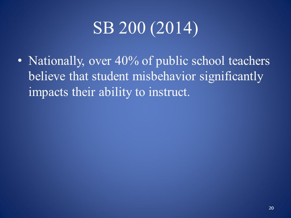 SB 200 (2014) Nationally, over 40% of public school teachers believe that student misbehavior significantly impacts their ability to instruct. 20