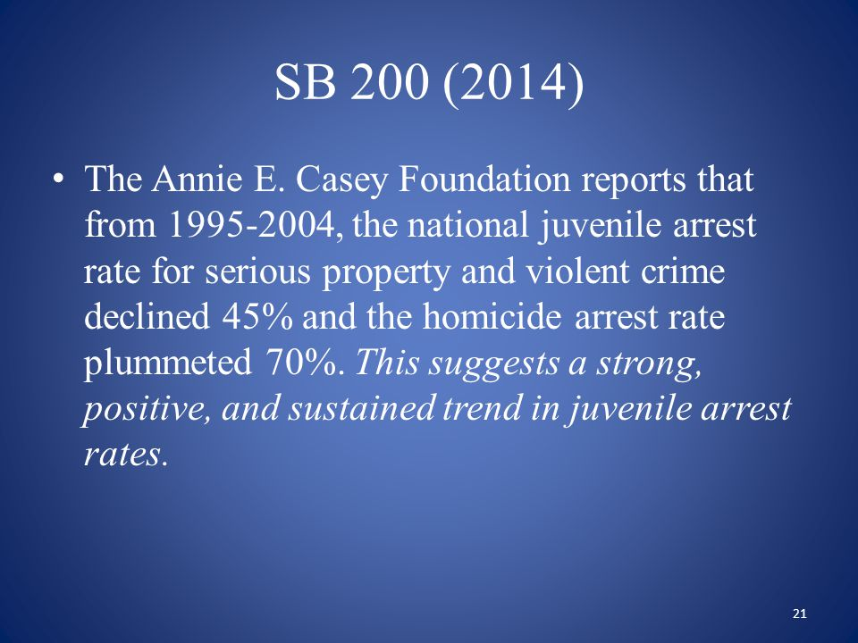 SB 200 (2014) The Annie E. Casey Foundation reports that from 1995-2004, the national juvenile arrest rate for serious property and violent crime decl