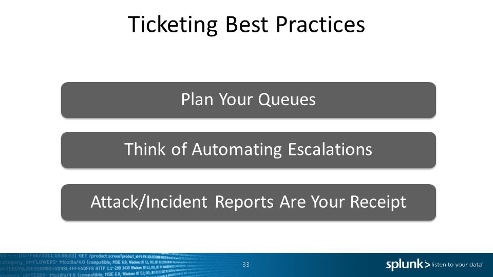 Ticketing Best Practices Plan Your Queues Think of Automating Escalations Attack/Incident Reports Are Your Receipt 33