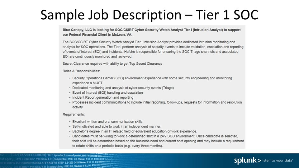Sample Job Description – Tier 1 SOC