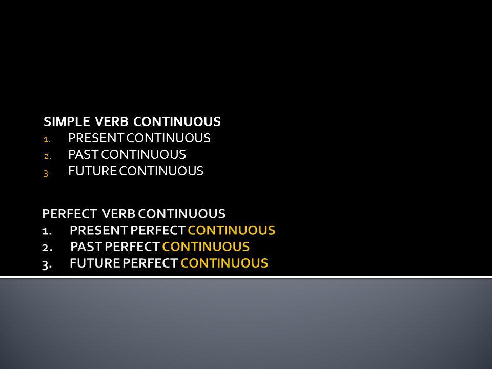 SIMPLE VERB CONTINUOUS 1. PRESENT CONTINUOUS 2. PAST CONTINUOUS 3. FUTURE CONTINUOUS