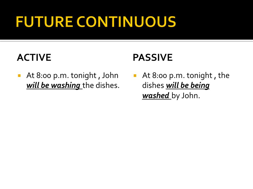 ACTIVE  At 8:00 p.m.tonight, John will be washing the dishes.