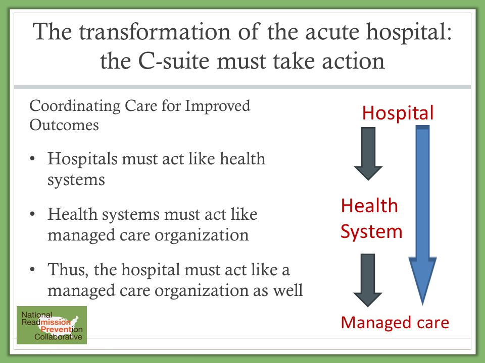 The transformation of the acute hospital: the C-suite must take action Coordinating Care for Improved Outcomes Hospitals must act like health systems
