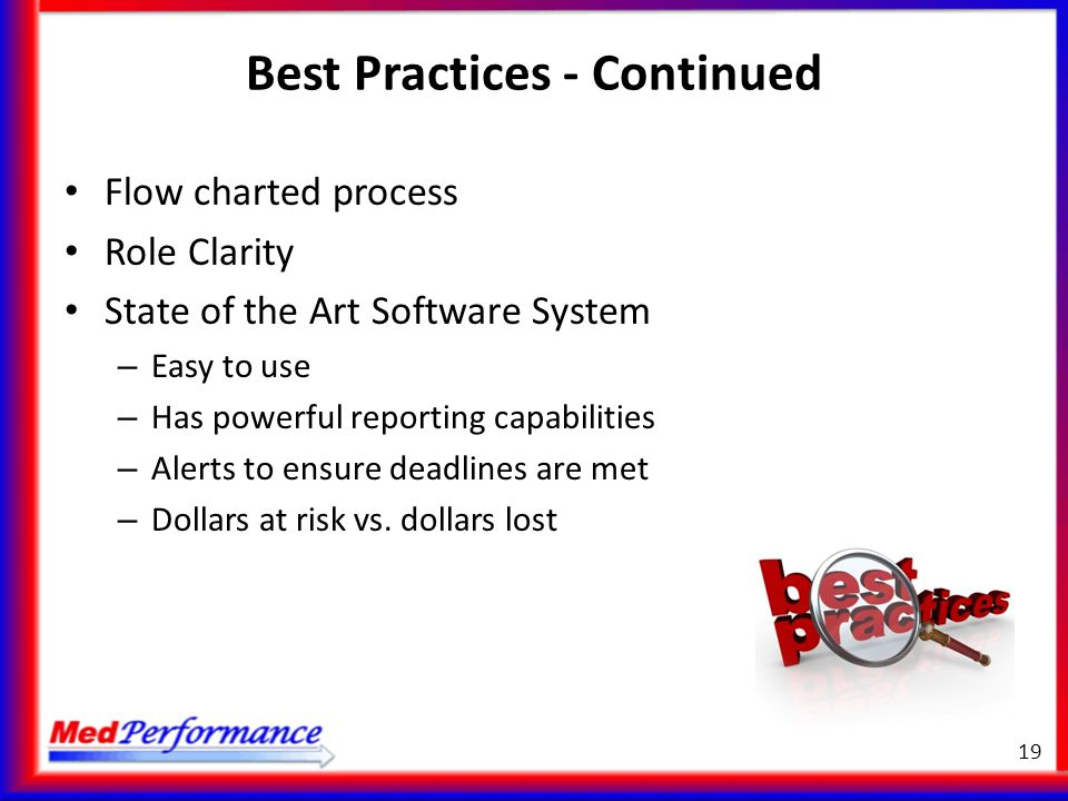 Best Practices - Continued Flow charted process Role Clarity State of the Art Software System – Easy to use – Has powerful reporting capabilities – Al