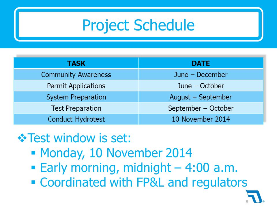  Test window is set:  Monday, 10 November 2014  Early morning, midnight – 4:00 a.m.  Coordinated with FP&L and regulators Project Schedule 8