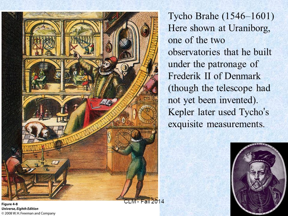 Tycho Brahe (1546–1601) Here shown at Uraniborg, one of the two observatories that he built under the patronage of Frederik II of Denmark (though the telescope had not yet been invented).