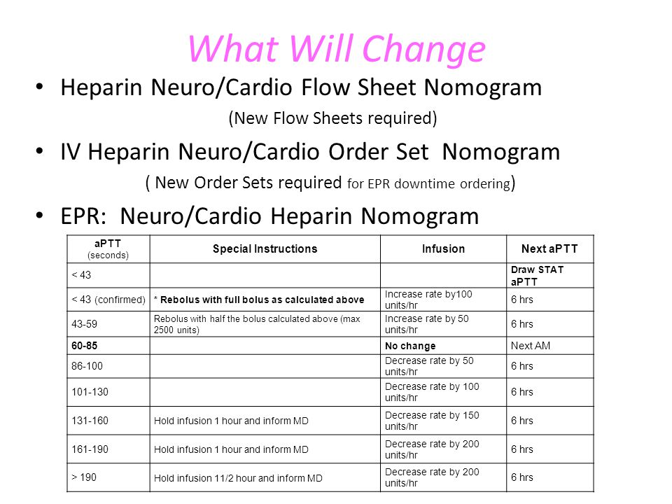 What Will Change Heparin Neuro/Cardio Flow Sheet Nomogram (New Flow Sheets required) IV Heparin Neuro/Cardio Order Set Nomogram ( New Order Sets required for EPR downtime ordering ) EPR: Neuro/Cardio Heparin Nomogram aPTT (seconds) Special InstructionsInfusionNext aPTT < 43 Draw STAT aPTT < 43 (confirmed) * Rebolus with full bolus as calculated above Increase rate by100 units/hr 6 hrs 43-59 Rebolus with half the bolus calculated above (max 2500 units) Increase rate by 50 units/hr 6 hrs 60-85 No change Next AM 86-100 Decrease rate by 50 units/hr 6 hrs 101-130 Decrease rate by 100 units/hr 6 hrs 131-160 Hold infusion 1 hour and inform MD Decrease rate by 150 units/hr 6 hrs 161-190 Hold infusion 1 hour and inform MD Decrease rate by 200 units/hr 6 hrs > 190 Hold infusion 11/2 hour and inform MD Decrease rate by 200 units/hr 6 hrs