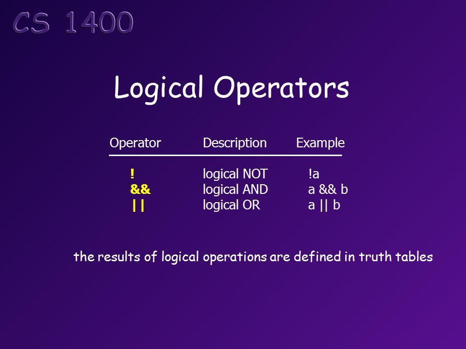 Logical Operators OperatorDescriptionExample !logical NOT !a &&logical AND a && b ||logical OR a || b the results of logical operations are defined in truth tables