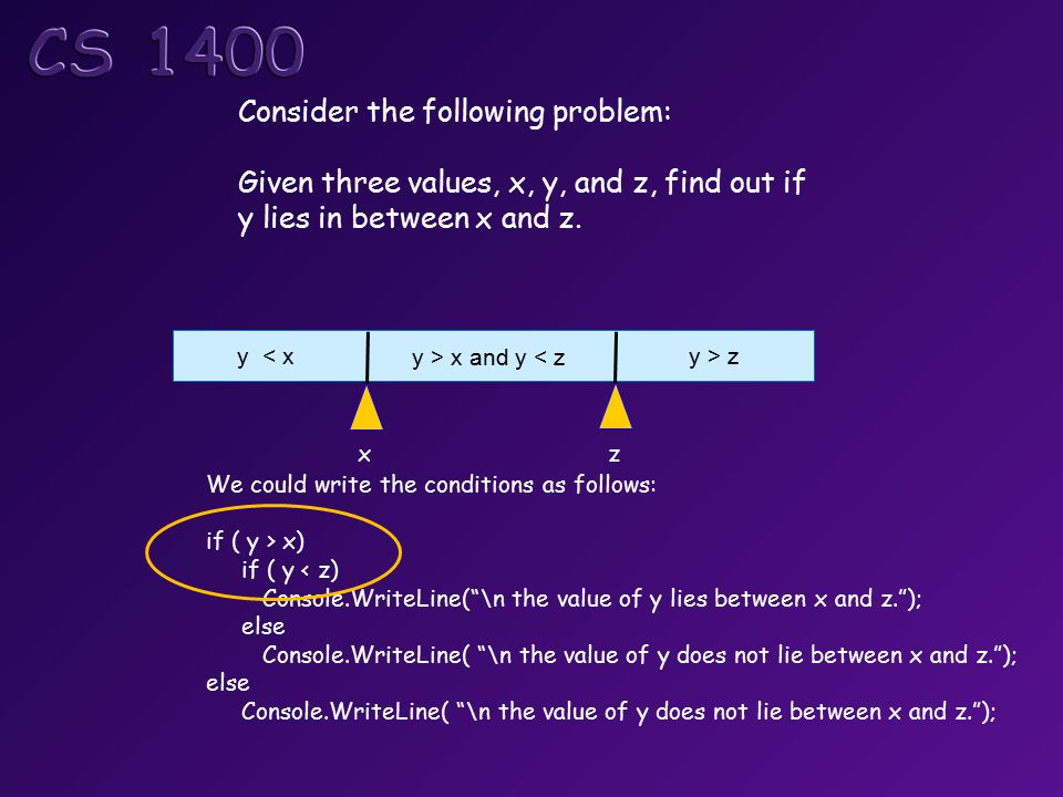 Consider the following problem: Given three values, x, y, and z, find out if y lies in between x and z.