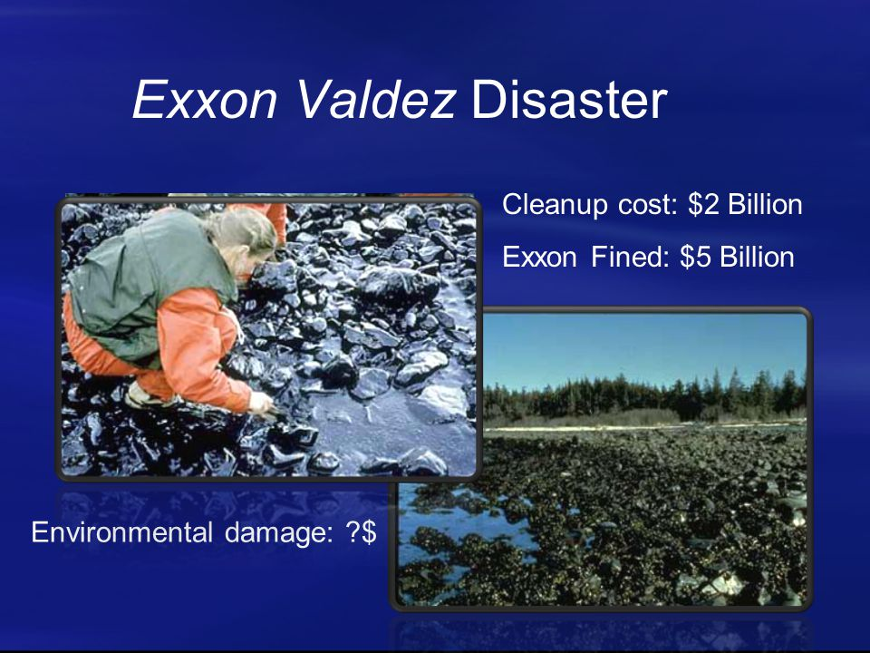 Exxon Valdez Disaster Cleanup cost: $2 Billion Exxon Fined: $5 Billion Environmental damage: $
