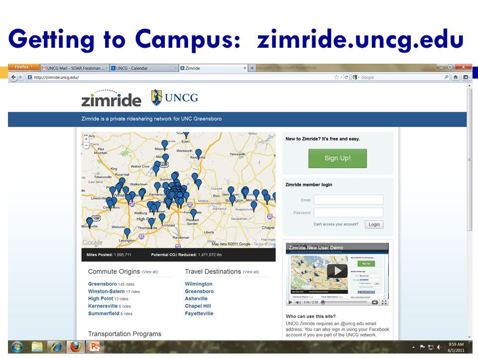 Getting to Campus: zimride.uncg.edu
