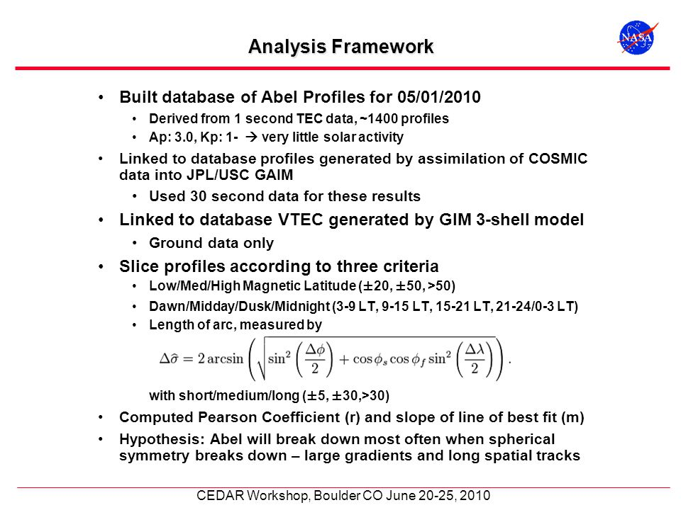 CEDAR Workshop, Boulder CO June 20-25, 2010 Analysis Framework Built database of Abel Profiles for 05/01/2010 Derived from 1 second TEC data, ~1400 pr