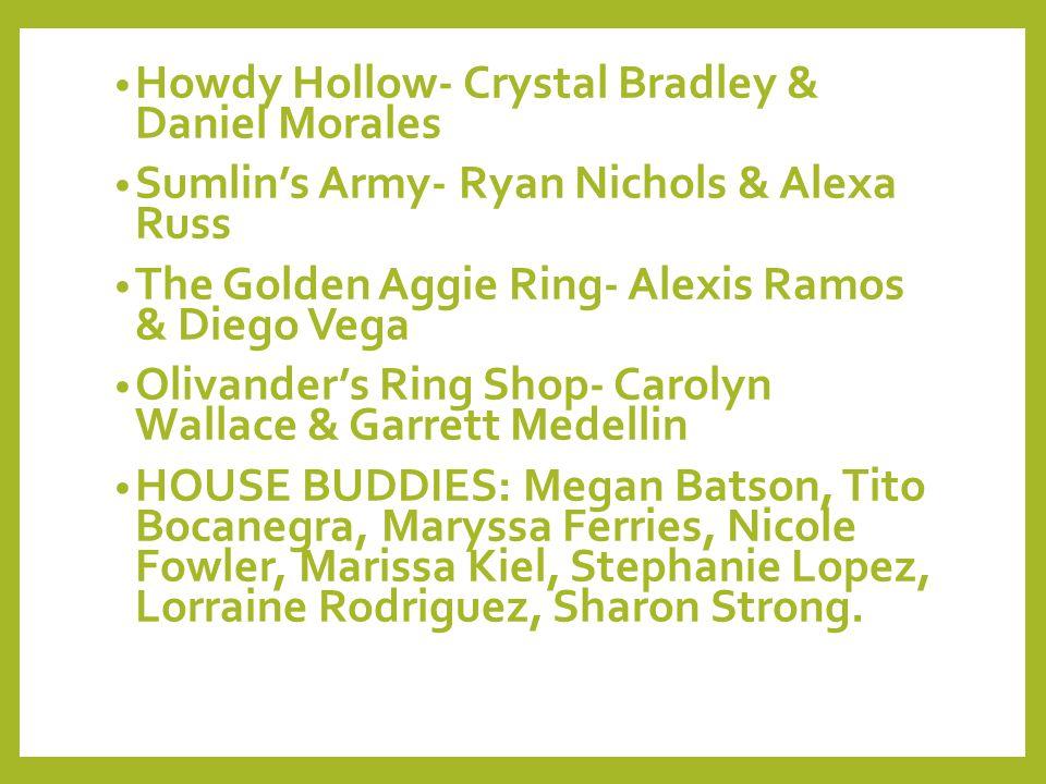 Howdy Hollow- Crystal Bradley & Daniel Morales Sumlin's Army- Ryan Nichols & Alexa Russ The Golden Aggie Ring- Alexis Ramos & Diego Vega Olivander's R