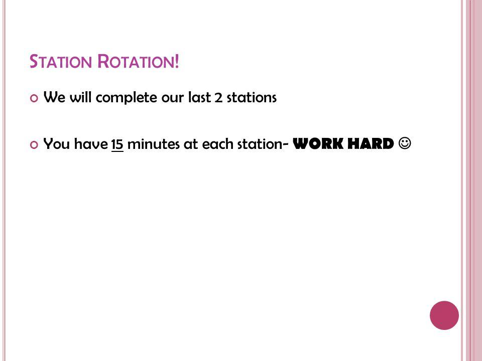 S TATION R OTATION .
