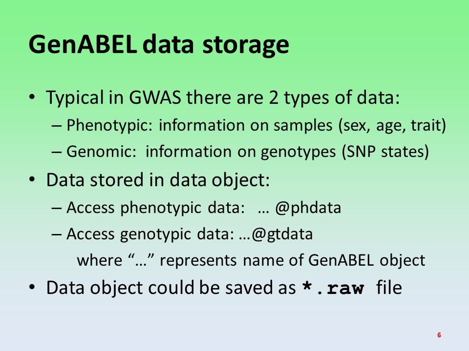 GenABEL data storage Typical in GWAS there are 2 types of data: – Phenotypic: information on samples (sex, age, trait) – Genomic: information on genotypes (SNP states) Data stored in data object: – Access phenotypic data: … @phdata – Access genotypic data: …@gtdata where … represents name of GenABEL object Data object could be saved as *.raw file 6