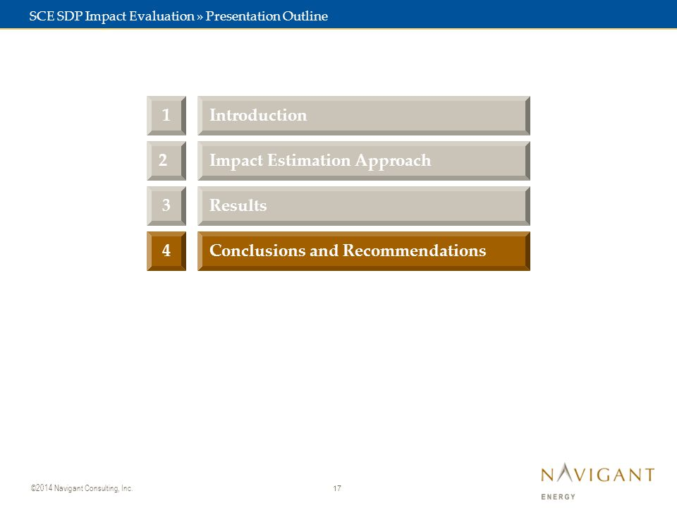 17 ©2014 Navigant Consulting, Inc. 3Results Conclusions and Recommendations4 2Impact Estimation Approach 1Introduction SCE SDP Impact Evaluation » Pre