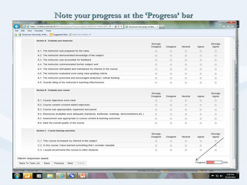Note your progress at the 'Progress' bar 12