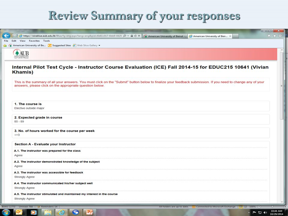 Review Summary of your responses 13