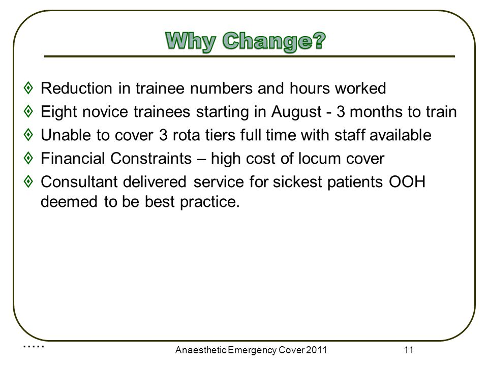  Reduction in trainee numbers and hours worked  Eight novice trainees starting in August - 3 months to train  Unable to cover 3 rota tiers full time with staff available  Financial Constraints – high cost of locum cover  Consultant delivered service for sickest patients OOH deemed to be best practice......