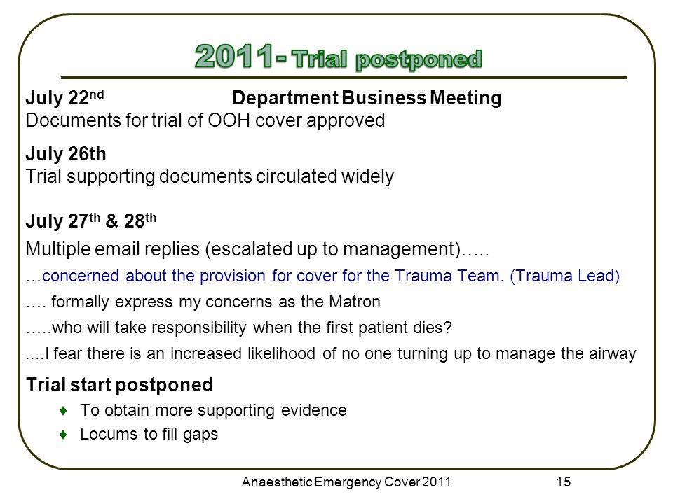 July 22 nd Department Business Meeting Documents for trial of OOH cover approved July 26th Trial supporting documents circulated widely July 27 th & 28 th Multiple email replies (escalated up to management)…..