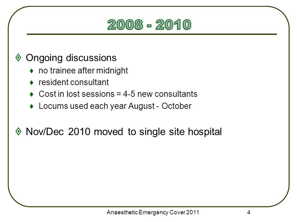  Ongoing discussions ♦no trainee after midnight ♦resident consultant ♦Cost in lost sessions = 4-5 new consultants ♦Locums used each year August - Oct