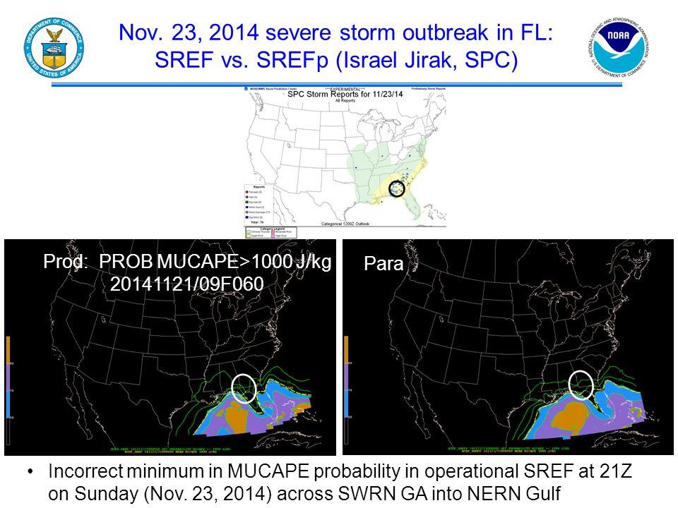 Nov. 23, 2014 severe storm outbreak in FL: SREF vs.