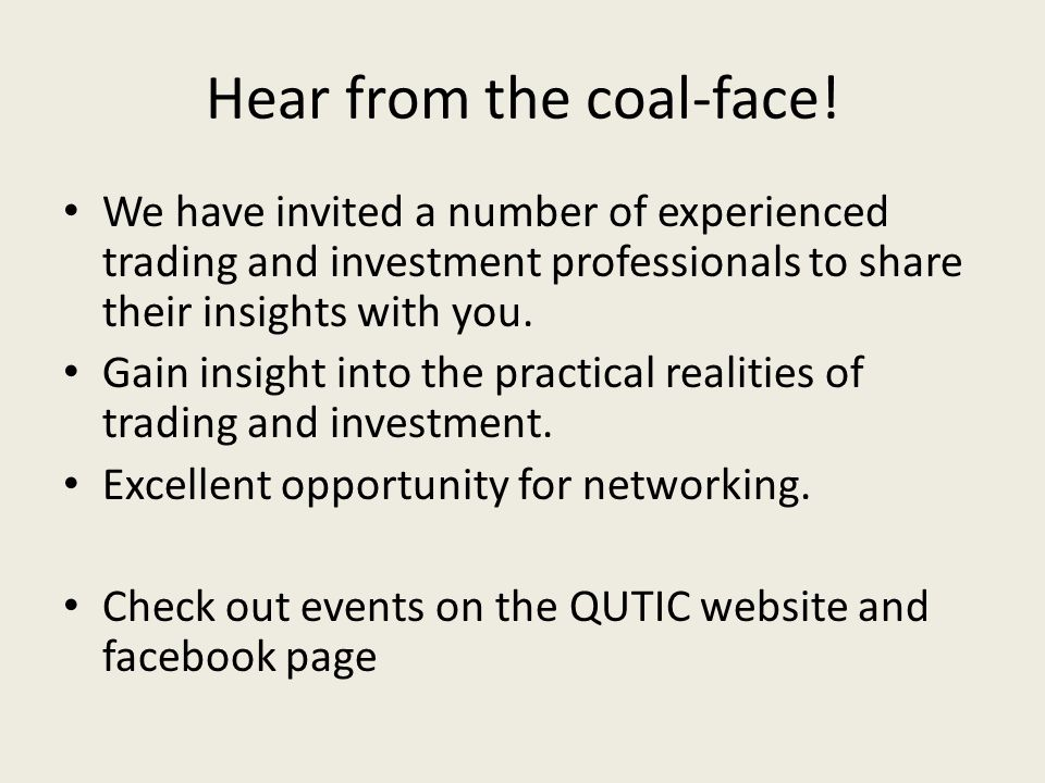 Hear from the coal-face.