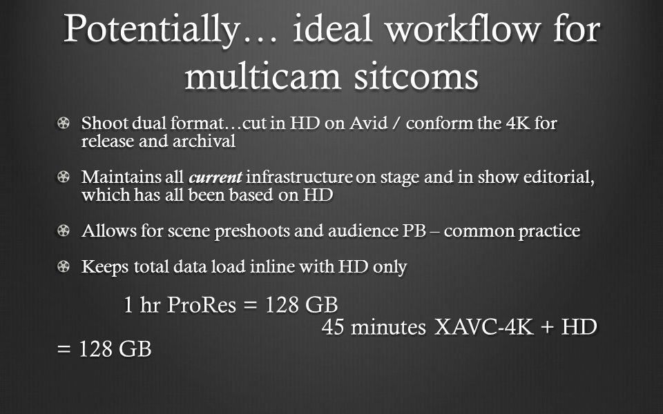 Potentially… ideal workflow for multicam sitcoms Shoot dual format…cut in HD on Avid / conform the 4K for release and archival Maintains all current i