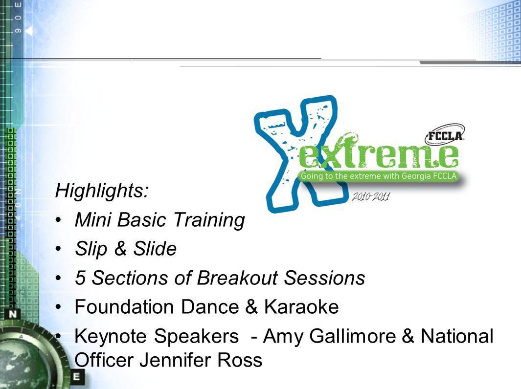 Highlights: Mini Basic Training Slip & Slide 5 Sections of Breakout Sessions Foundation Dance & Karaoke Keynote Speakers - Amy Gallimore & National Officer Jennifer Ross