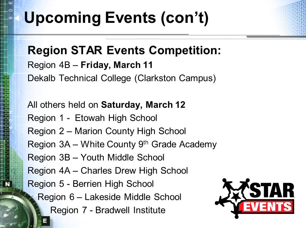 Upcoming Events (con't) Region STAR Events Competition: Region 4B – Friday, March 11 Dekalb Technical College (Clarkston Campus) All others held on Saturday, March 12 Region 1 - Etowah High School Region 2 – Marion County High School Region 3A – White County 9 th Grade Academy Region 3B – Youth Middle School Region 4A – Charles Drew High School Region 5 - Berrien High School Region 6 – Lakeside Middle School Region 7 - Bradwell Institute