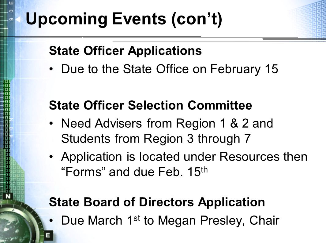 Upcoming Events (con't) State Officer Applications Due to the State Office on February 15 State Officer Selection Committee Need Advisers from Region