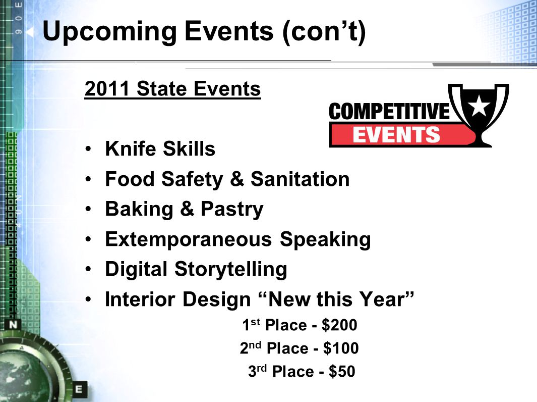Upcoming Events (con't) 2011 State Events Knife Skills Food Safety & Sanitation Baking & Pastry Extemporaneous Speaking Digital Storytelling Interior Design New this Year 1 st Place - $200 2 nd Place - $100 3 rd Place - $50